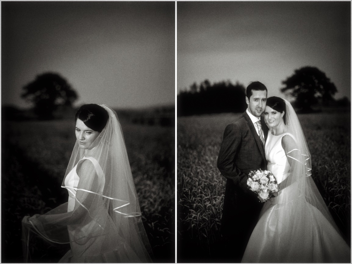 dramatic balck and white photograph of gorgeous bride