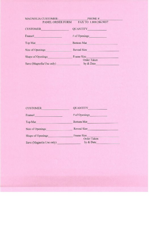 Printable Order Forms - Magnolia Frame