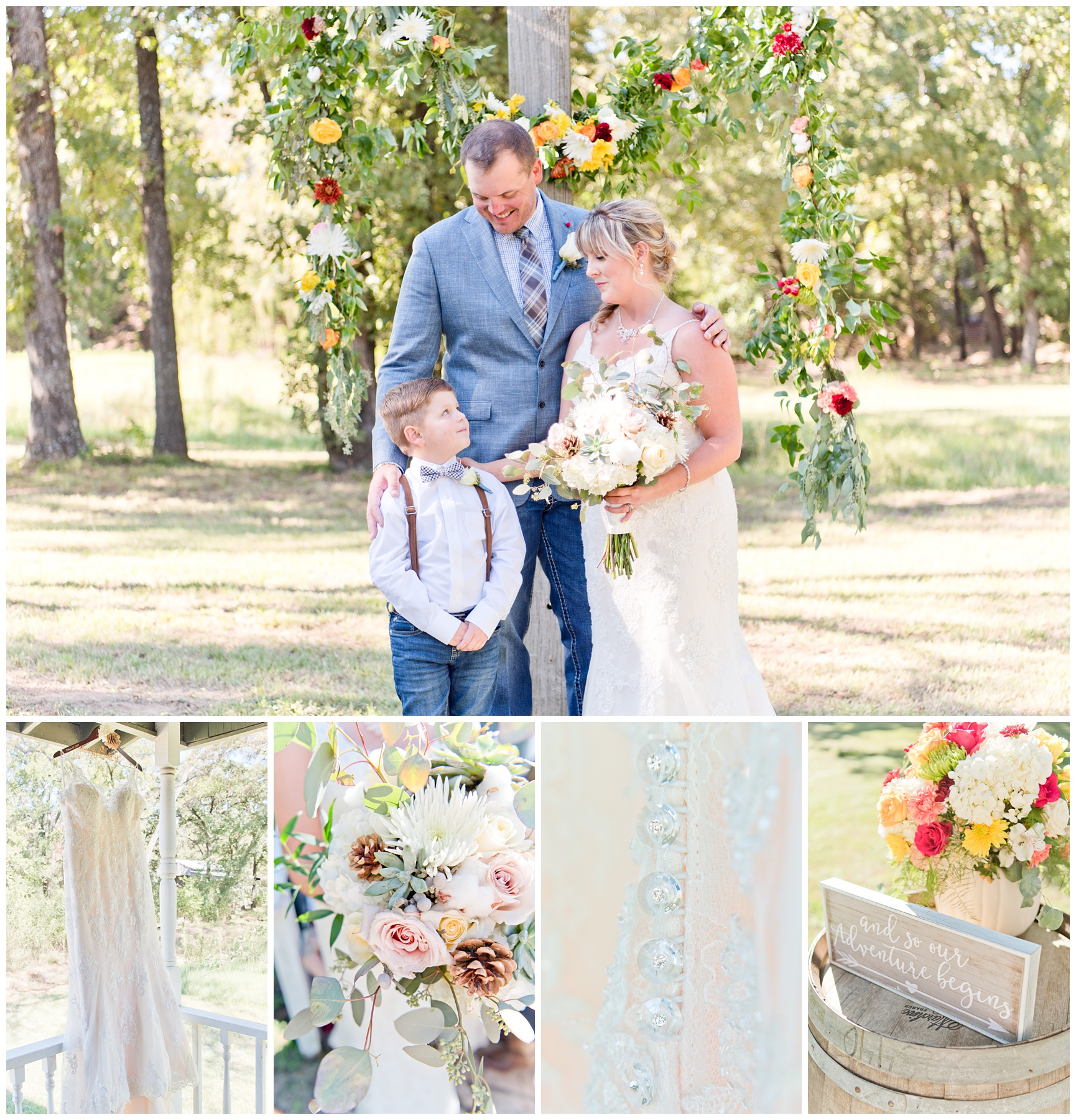 Fall Wedding Details at Lone Oak Ranch in Gainseville, Texas