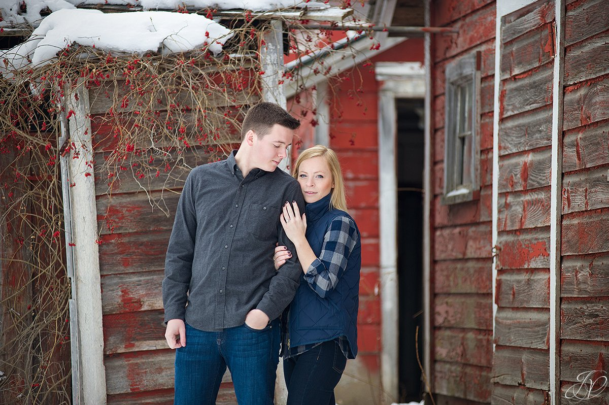 beautiful winter engagement photo with barns