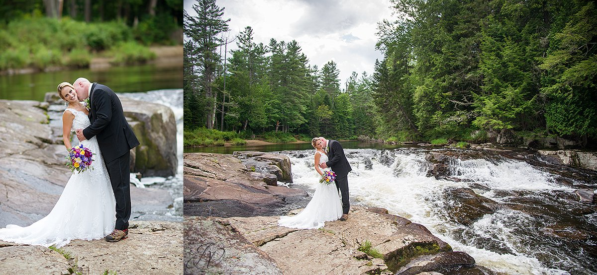 bride and groom lake placid waterfall