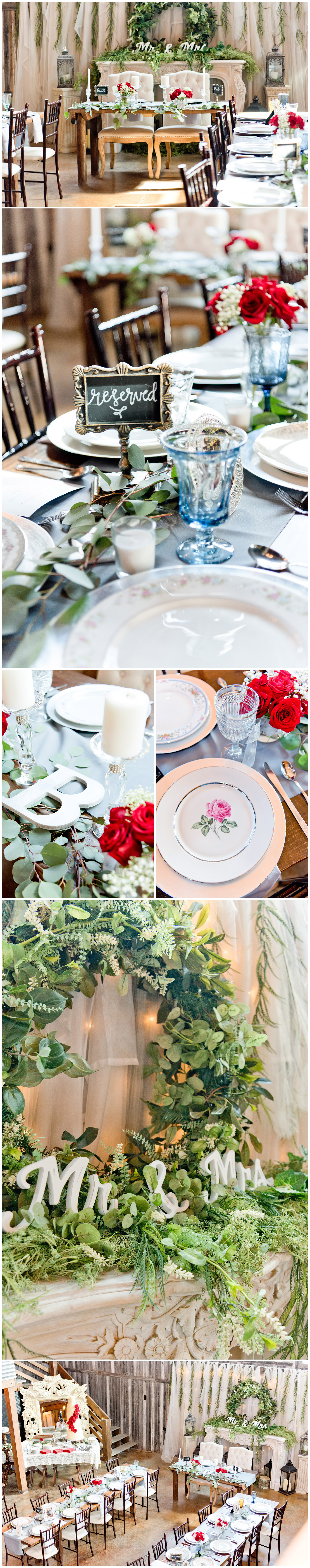 Red, Blue and Cream Wedding Reception