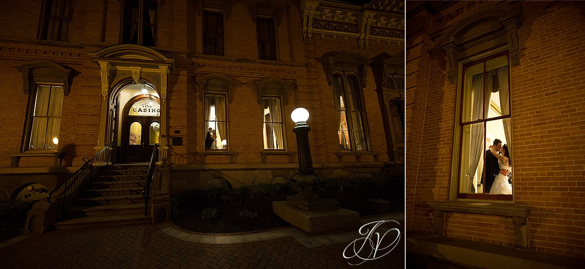 Saratoga Wedding Photographer, The Canfield Casino wedding, bride and groom photo from outside