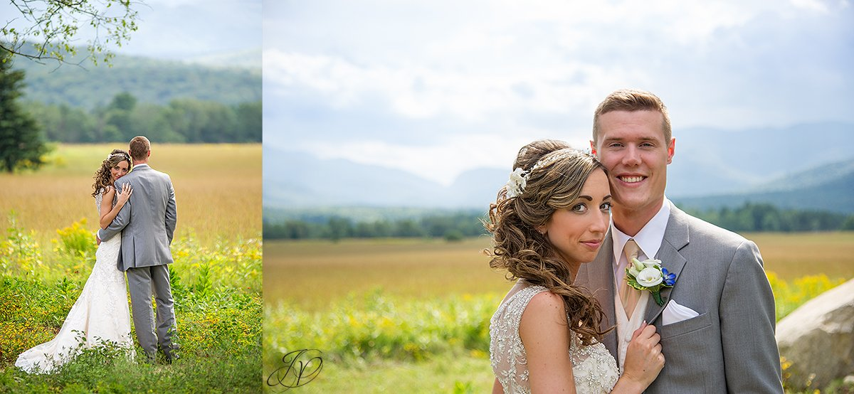 scenic bridal portrait in front of mountain lake placid