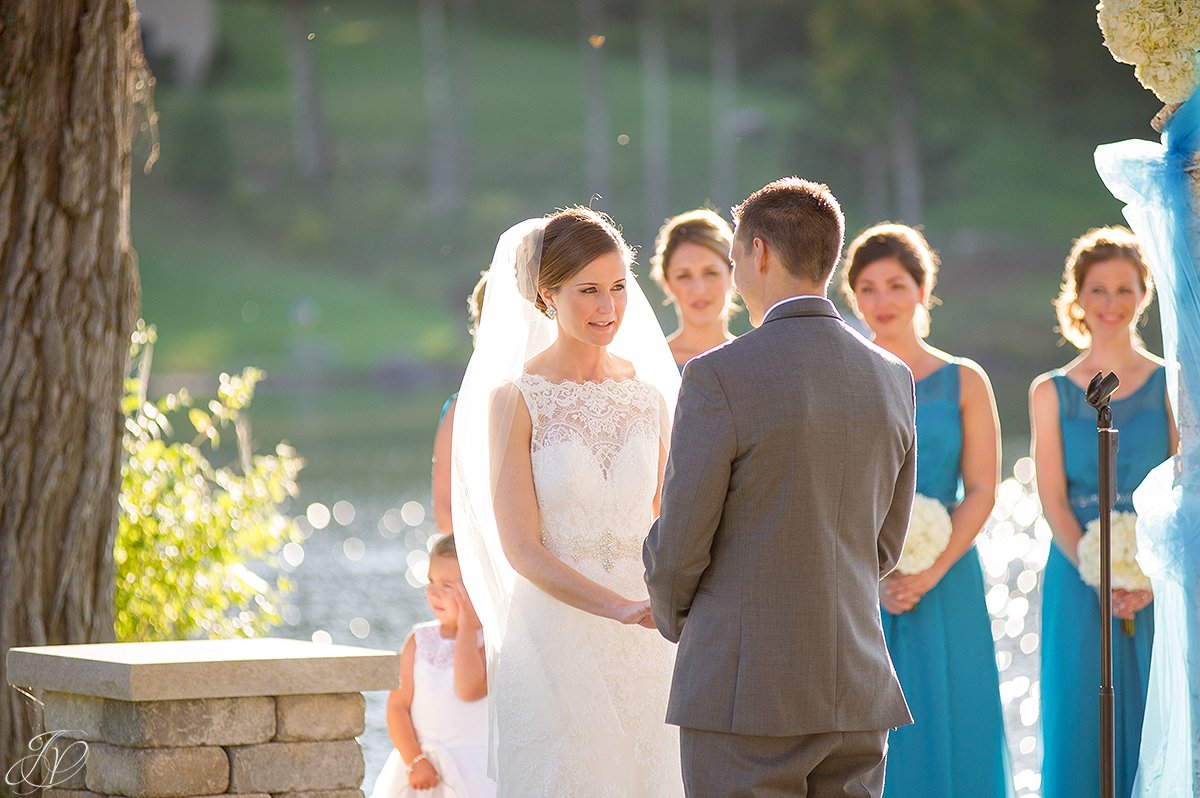 beautiful photo of bride saying vows during ceremony