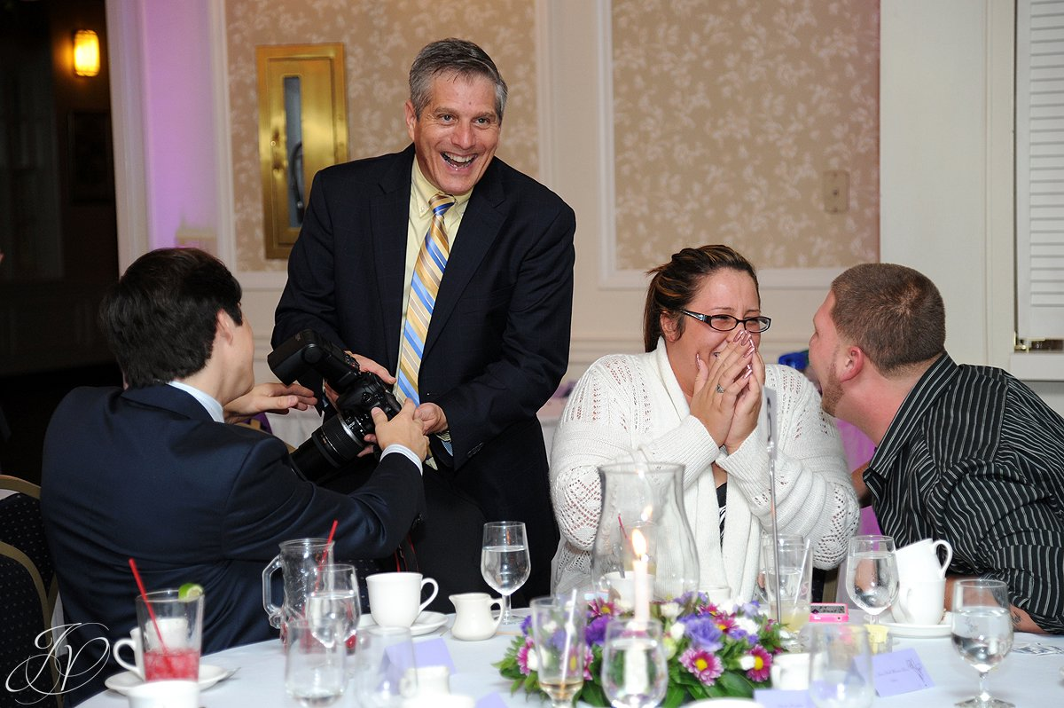 wedding guests having fun, Lake George Wedding Photographer, wedding reception photos, Wedding at The Queensbury Hotel