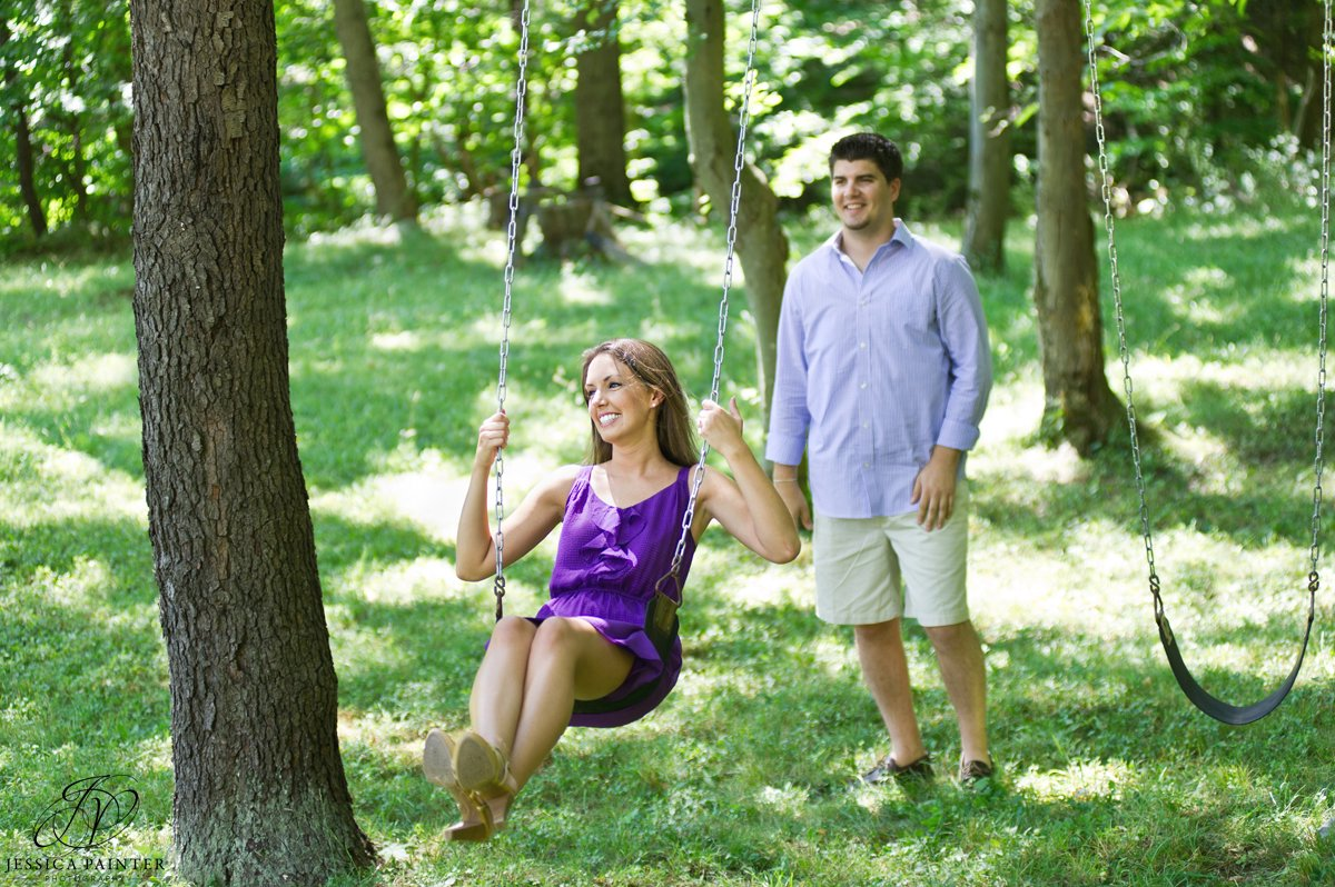 couple on swings, Chatham engagement photographer, albany engagement, engagement portrait, on location photography
