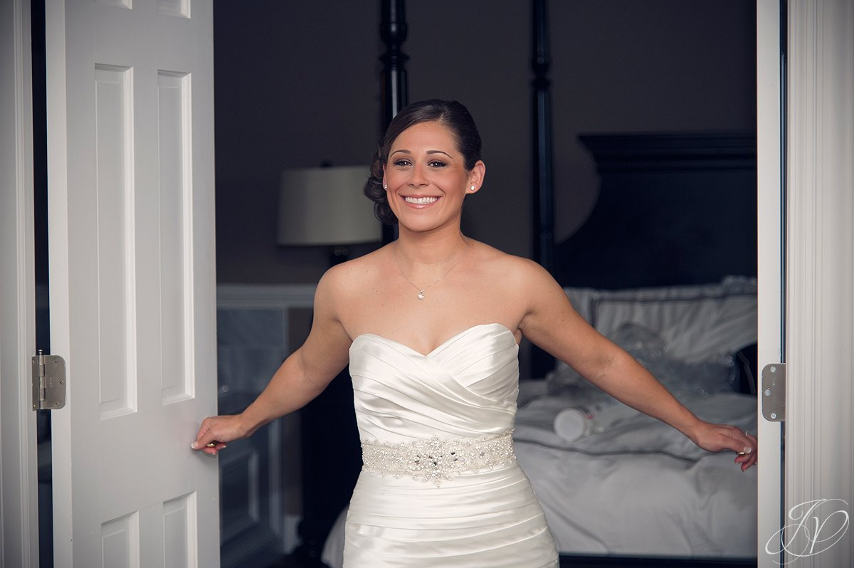 first look photo, beautiful bride getting ready, Albany Wedding Photographer, The Glen Sanders Mansion, wedding dress, wedding detail photo