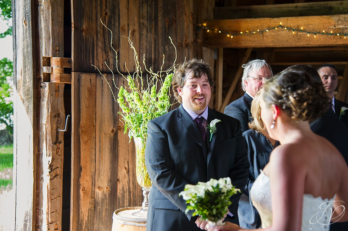 first look photo, happy groom at alter photo, wedding at mabee Farms, mabee farms historic site, Schenectady Wedding Photographer, Key Hall Proctors reception
