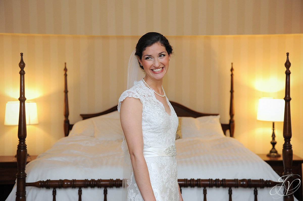 smiling bride candid, beautiful bride candid portrait, Wedding at The Pruyn House, Albany Wedding Photographer