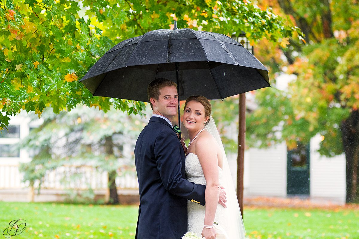 romantic photo of bride and groom in the rain