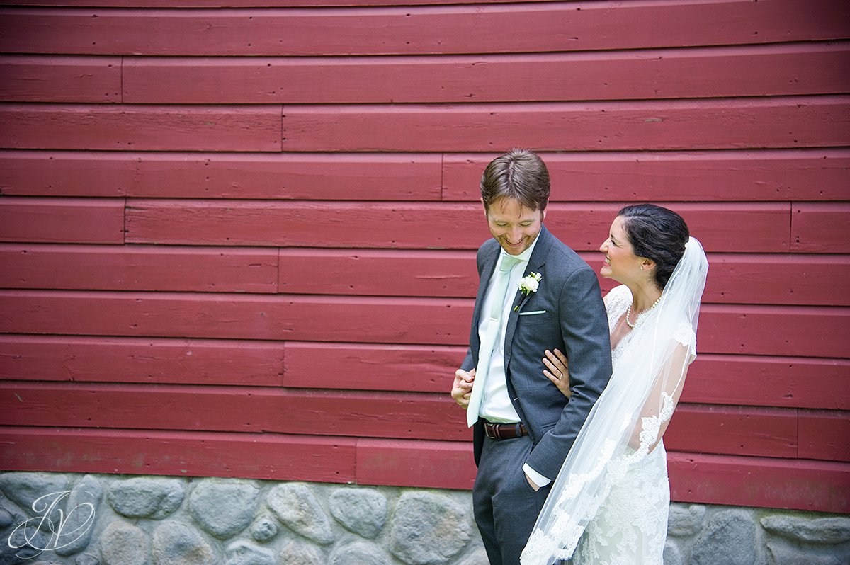 happy bride and groom candid, bride and groom in front of barn, first look at pruyn house, bride and groom portrait, pruyn house wedding, Wedding at The Pruyn House, Albany Wedding Photographer