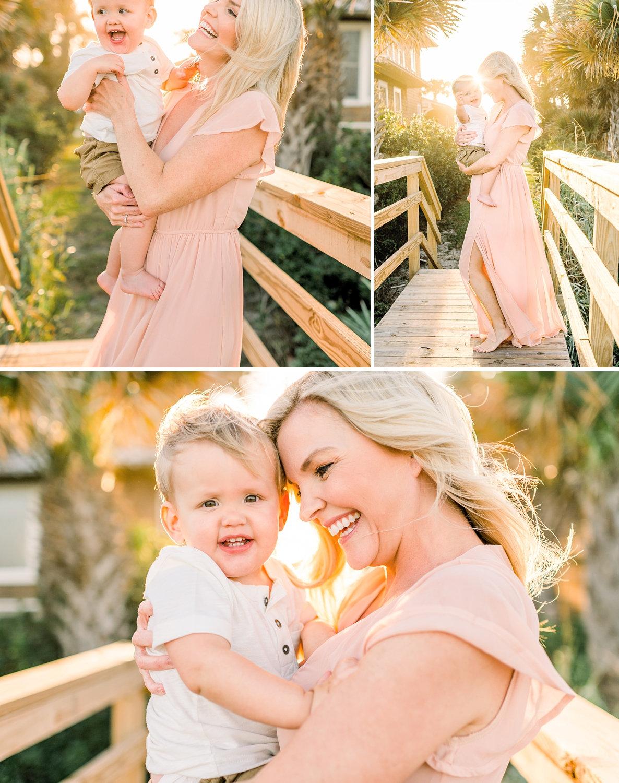photo collage, mother and baby boy, Ponte Vedra Beach boardwalk, flowy peach dress, Ryaphotos