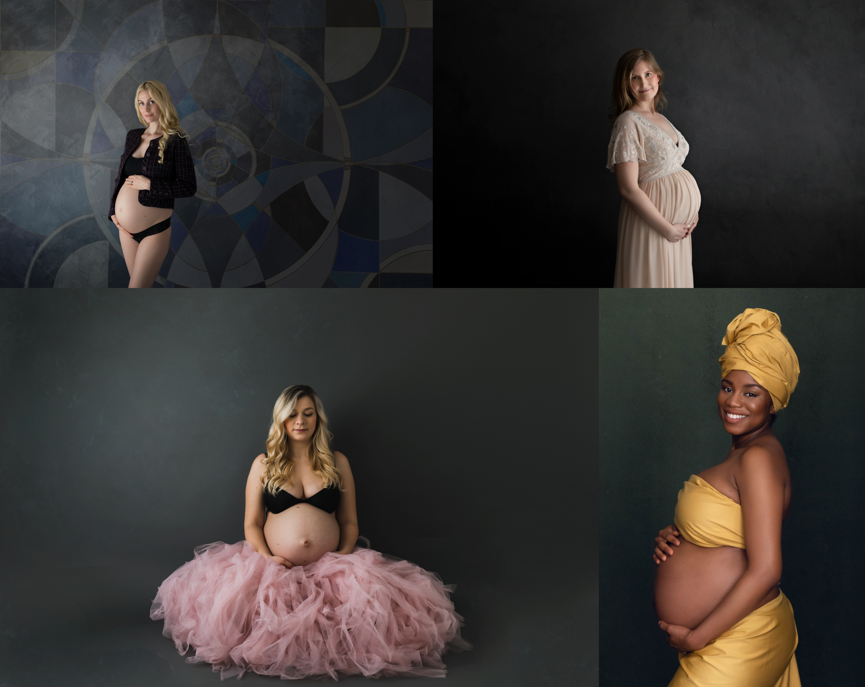 Fine-art maternity photos on a dark background