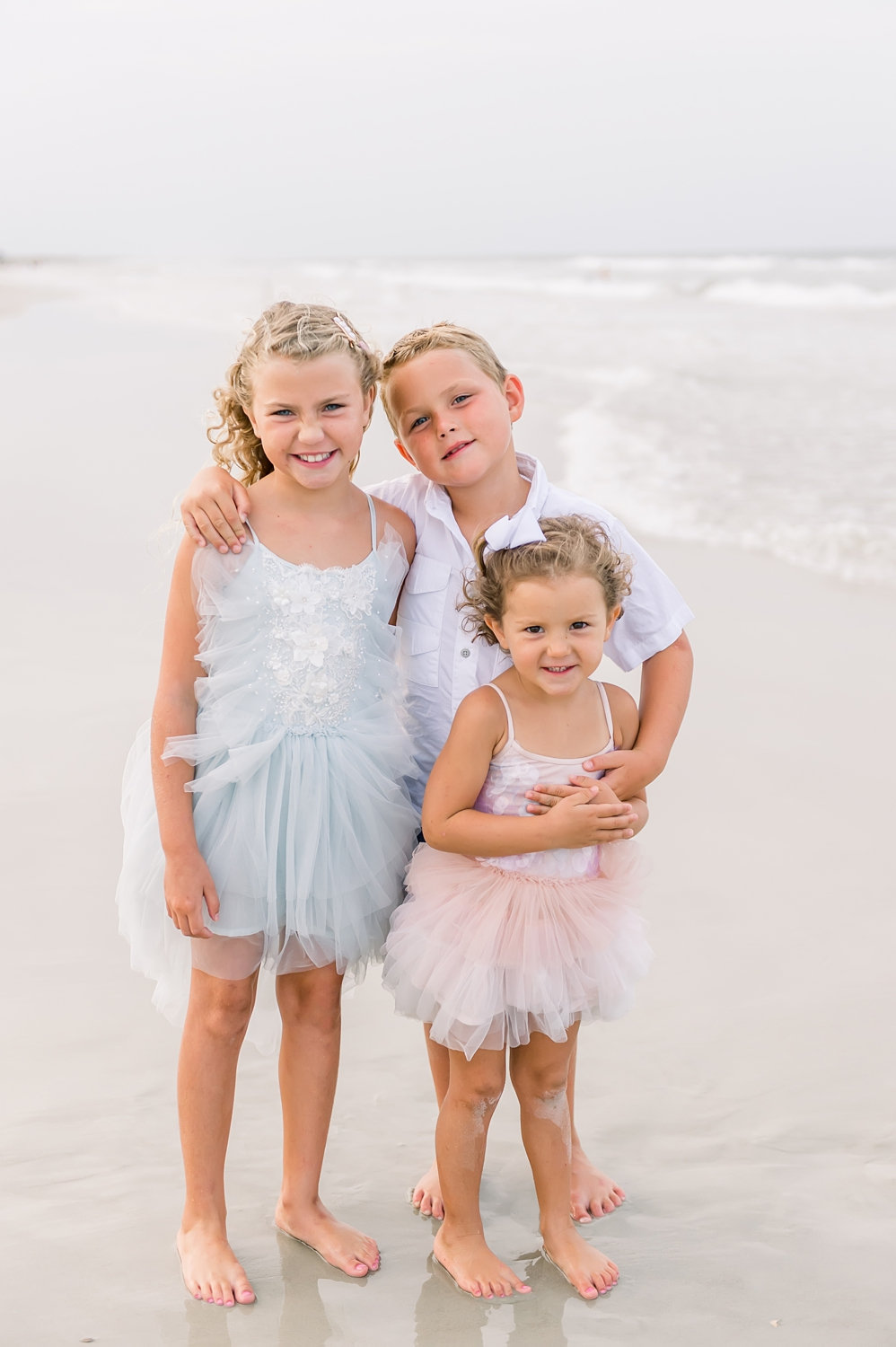brother and two sisters on the beach, Tutu du Monde dresses, Rya Duncklee