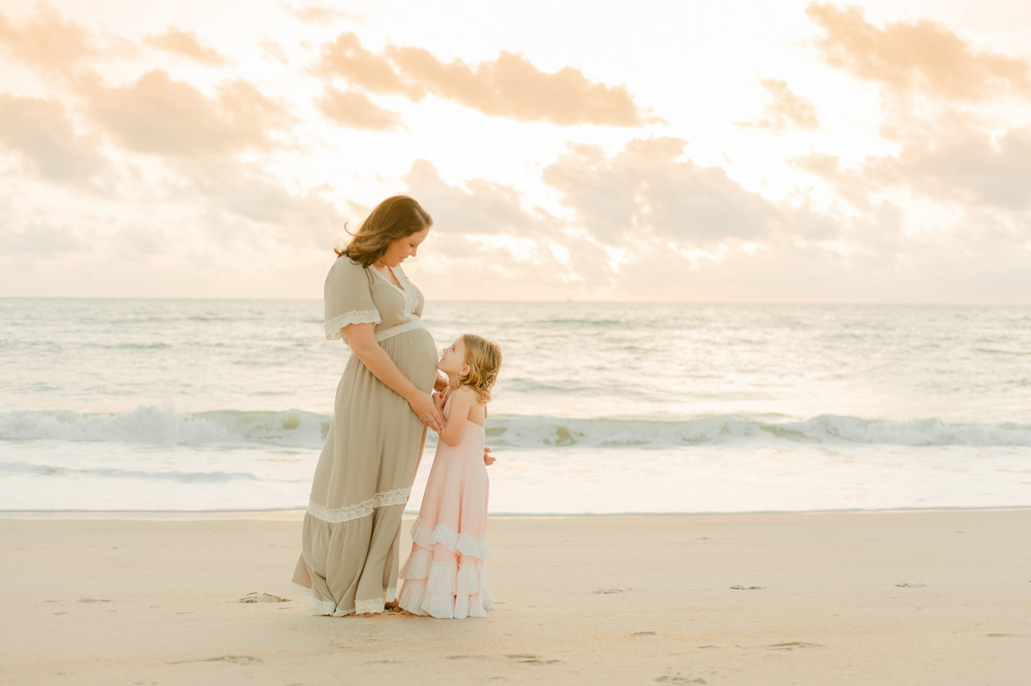 sunrise beach maternity portrait with daughter, Ryaphotos, Saint Augustine