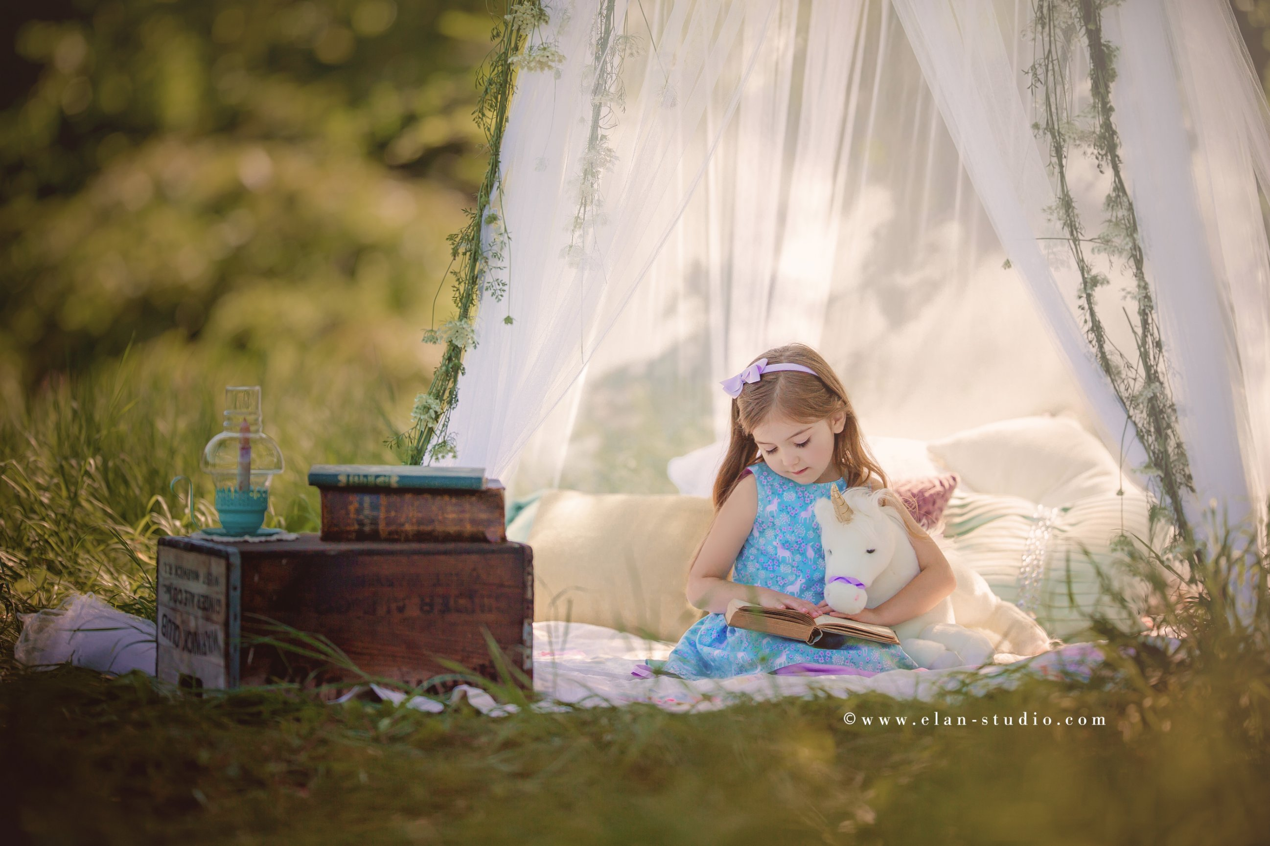 little girl reading to unicorn, outdoor sheer canopy, rustic decor, Elan Studio, Tracy Sweeney